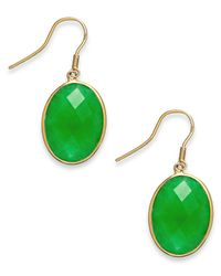 Macy's - Green Dyed Jade Oval Drop Earrings In 14k Gold (16mm) - Lyst