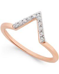 Macy's - Metallic Diamond V Ring (1/10 Ct. T.w.) In Sterling Silver - Lyst