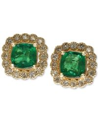 Effy Collection | Metallic Emerald (1 Ct. T.w.) And Diamond (1/3 Ct. T.w.) Earrings In 14k Gold | Lyst
