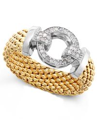Macy's | Metallic Diamond Mesh And Circle Accent Ring In Vermeil And Sterling Silver (1/5 Ct. T.w.) | Lyst