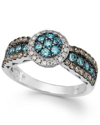 Le Vian | Metallic Chocolate, Blue And White Diamond Ring In 14k White Gold (7/8 Ct. T.w.) | Lyst