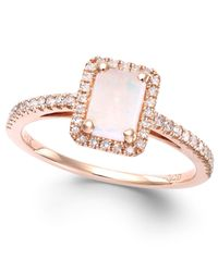 Macy's | Pink Opal (1/2 Ct. T.w.) And Diamond (1/5 Ct. T.w.) Ring In 14k Rose Gold | Lyst