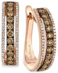 Le Vian | Multicolor Chocolate And White Diamond Hoop Earrings In 14k Rose Gold (9/10 Ct. T.w.) | Lyst