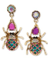 Betsey Johnson | Multicolor Gold-tone Spider Mismatch Drop Earrings | Lyst