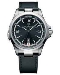 Victorinox   Multicolor Men's Night Vision Black Leather Strap Watch 42mm 241664 for Men   Lyst