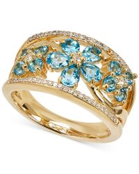 Macy's - Swiss Blue Topaz (1-1/2 Ct. T.w.) & Diamond (1/10 Ct. T.w.) Ring In 14k Gold - Lyst