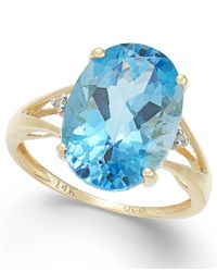 Macy's | Blue Topaz (6-1/2 Ct. T.w.) And Diamond Accent Ring In 14k Gold | Lyst