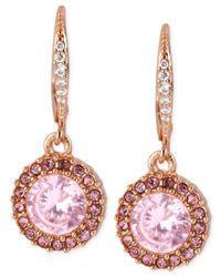 Betsey Johnson | Multicolor Rose Gold-tone Pink Crystal Circle Drop Earrings | Lyst