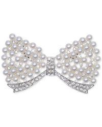 Jones New York | Metallic Silver-tone Acrylic Pearl Bow Pin | Lyst