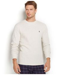 Polo Ralph Lauren | Gray Men's Solid Waffle-knit Crew-neck Thermal Top for Men | Lyst