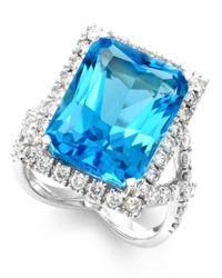 Macy's | Blue Topaz (14 Ct. T.w.) And Diamond (1-1/3 Ct. T.w.) Ring In 14k White Gold | Lyst