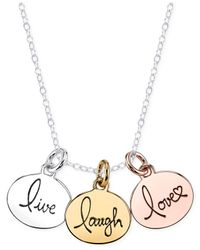 Macy's | Metallic Tri-tone Live, Laugh, Love Pendant Necklace In Sterling Silver | Lyst