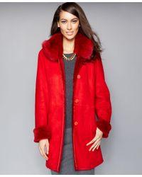 The Fur Vault | Red Fox-fur-collar Shearling Coat | Lyst
