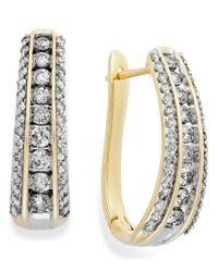 Macy's   Metallic Diamond Channel J-hoop Earrings In 10k White Or Yellow Gold (1 Ct. T.w.)   Lyst