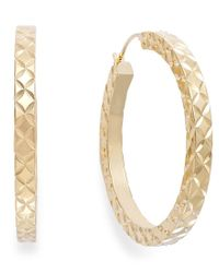Signature Gold - Multicolor Diamond-cut Hoop Earrings In 14k Gold Over Resin - Lyst