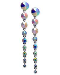 Guess - Metallic Silver-tone Graduated Stone Drop Earrings - Lyst