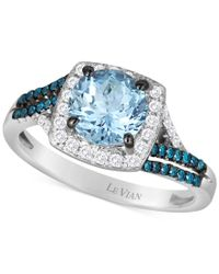 Le Vian | Aquamarine (1-1/4 Ct. T.w.), Blueberry (1/6 Ct. T.w.) And White (1/5 Ct. T.w.) Diamond Ring In 14k Gold | Lyst