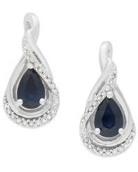 Macy's | Blue Sapphire (9/10 Ct. T.w.) And Diamond (1/8 Ct. T.w.) Drop Earrings In 14k White Gold | Lyst