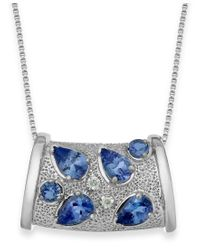 Macy's | Blue Tanzanite (1-3/4 Ct. T.w.) And Diamond Accent Pendant Necklace In Sterling Silver | Lyst