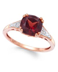Macy's | Metallic Garnet (2-1/5 Ct. T.w.) And Diamond Accent Ring In 14k Rose Gold | Lyst
