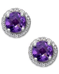 Macy's | Purple Amethyst (1-3/4 Ct. T.w.) And Diamond Accent Halo Stud Earrings In 14k White Gold | Lyst
