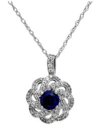 Macy's | Blue Sapphire (5/8 Ct. T.w.) And Diamond (1/3 Ct. T.w.) Knot Pendant Necklace In 14k White Gold | Lyst