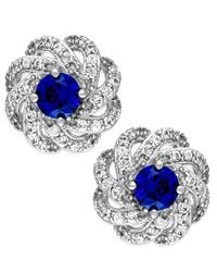 Macy's | Metallic Sapphire (5/8 Ct. T.w.) And Diamond (1/3 Ct. T.w.) Knot Earrings In 14k White Gold | Lyst
