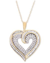 Macy's - Metallic Diamond Baguette Heart Necklace In 10k Gold Or White Gold (3/8 Ct. T.w.) - Lyst