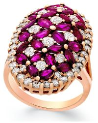 Macy's - Metallic Ruby (4 Ct. T.w.) And Diamond (1-3/4 Ct. T.w.) Ring In 14k Rose Gold - Lyst