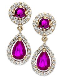 Macy's | Metallic Ruby (1-1/3 Ct. T.w.) And Diamond (3/8 Ct. T.w.) Drop Earrings In 14k Gold | Lyst