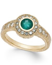 Macy's | Metallic Emerald (1/2 Ct. T.w.) And Diamond (1/3 Ct. T.w.) Round Ring In 14k Gold | Lyst
