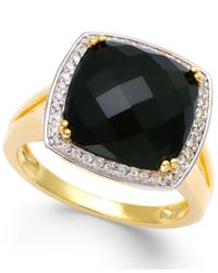 Macy's | Metallic Faceted Onyx (4-1/2 Ct. T.w.) And Diamond (1/5 Ct. T.w.) Ring In 14k Gold | Lyst