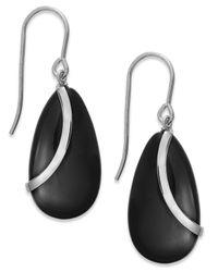 Macy's   Black Onyx Overlay Drop Earrings In Sterling Silver (10-1/3 Ct. T.w.)   Lyst