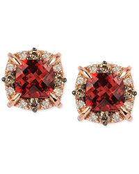 Le Vian   Metallic Petite Collection Garnet (1-3/8 Ct. T.w.) And Diamond (1/4 Ct. T.w.) Stud Earrings In 14k Rose Gold, Only At Macy's   Lyst