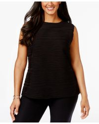 Calvin Klein | Black Plus Size Sleeveless Ribbed Textured Top | Lyst