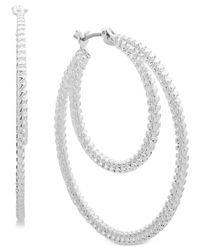 "Nine West Metallic Textured 1-2/3"" Double Hoop Earrings"
