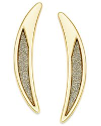 ABS By Allen Schwartz - Metallic Gold-tone Crescent Glitter Drop Earrings - Lyst