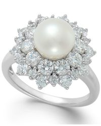 Arabella | Metallic Cultured Freshwater Pearl (8mm) And Swarovski Zirconia Ring In Sterling Silver | Lyst