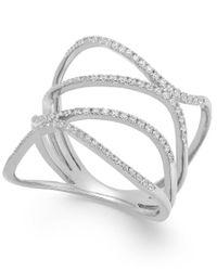 Macy's - Multicolor Diamond Wavy Ring In 14k White Gold (3/8 Ct. T.w.) - Lyst