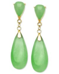 Macy's | Green Dyed Jade Teardrop Earrings In 14k Gold (8mm) | Lyst