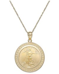 Macy's | Metallic Genuine Eagle Coin Pendant Necklace In 22k And 14k Gold | Lyst