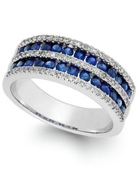 Macy's | Multicolor Sapphire (1-1/10 Ct. T.w.) And Diamond (1/3 Ct. T.w.) Band In 14k White Gold | Lyst