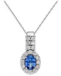 Macy's | Blue Tanzanite (1-1/5 Ct. T.w.) And Diamond (1/4 Ct. T.w.) Pendant Necklace In 14k White Gold | Lyst