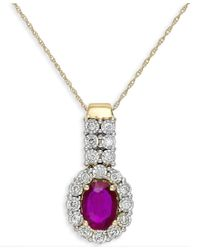 Macy's | Metallic Ruby (1-1/10 Ct. T.w.) And Diamond (1/4 Ct. T.w.) Pendant Necklace In 14k Gold | Lyst