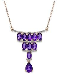 Macy's - Purple Amethyst (4-1/3 Ct. T.w.) And Diamond (1/5 Ct. T.w.) Deco Necklace In 14k Rose Gold - Lyst