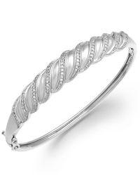 Macy's   Metallic Diamond Swirl Bangle Bracelet In Sterling Silver (1/4 Ct. T.w.)   Lyst