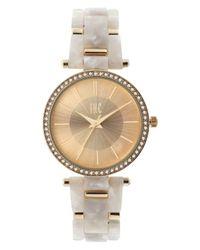 INC International Concepts - Metallic Women's Gold-tone Mixed-metal & Acrylic Link Bracelet Watch 35mm - Lyst
