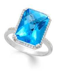 Macy's - Blue Topaz (5 Ct. T.w.) And Diamond (1/5 Ct. T.w.) Ring In 14k White Gold - Lyst