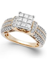 Macy's | Metallic Diamond Square Halo Ring In 14k Gold (1 Ct. T.w.) | Lyst