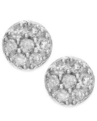Macy's | Metallic Diamond Cluster Stud Earrings In 10k White Gold (1/4 Ct. T.w.) | Lyst